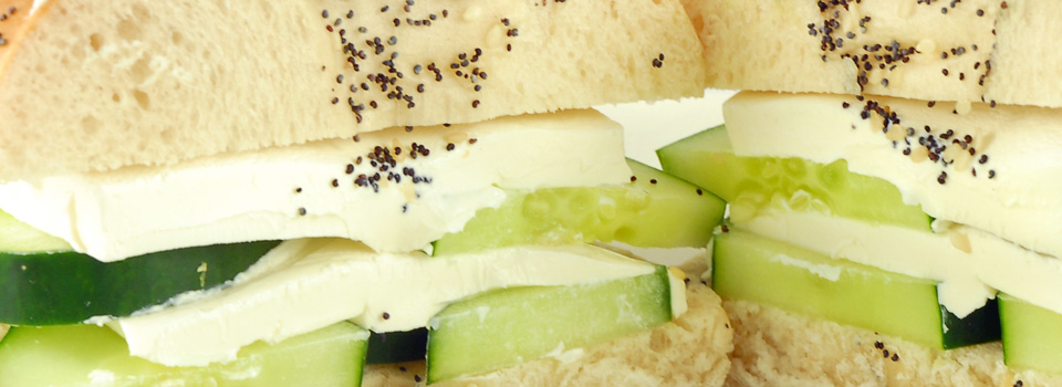 Cucumber Cream Cheese Bagel